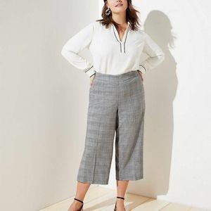 Michel Studio Plaid Cropped Wide Leg Pants Crops